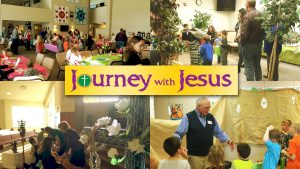Photo collage from the different stations at Journey With Jesus