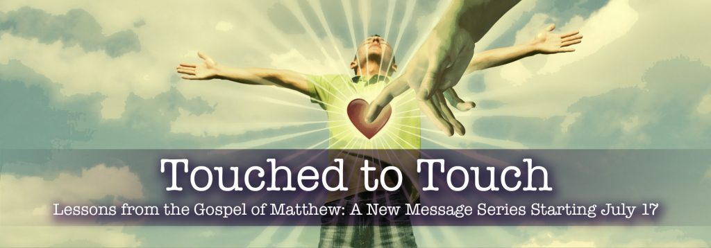 God's Hand touching a man's heart. Touched to Touch sermon graphic.