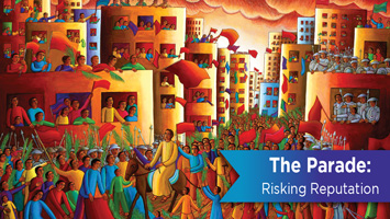 Brightly colored painting of Jesus entering Jerusalem on the donkey.