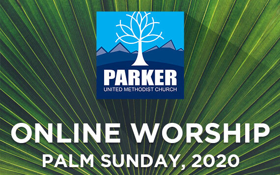 Close up of palm frond with Parker UMC logo and Palm Sunday 2020 in text