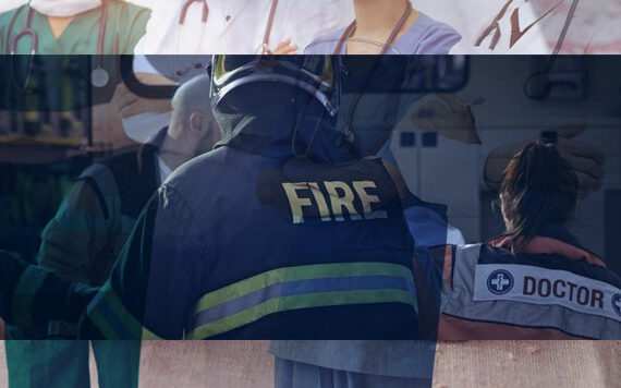 Images of doctors, policeman, and fire fighters